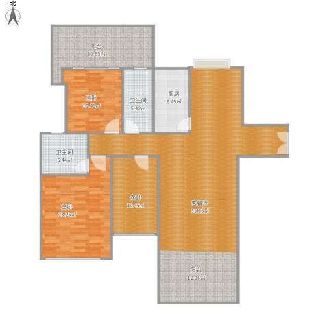 荷塘月色3室1厅2卫1厨170.00㎡户型图