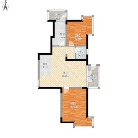 河东万达广场2室1厅1卫1厨109.00㎡户型图