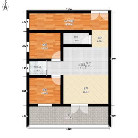 北丽园2室0厅1卫1厨73.00㎡户型图