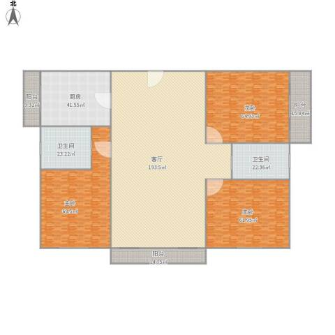 丹桂花园南苑3室1厅2卫1厨667.00㎡户型图