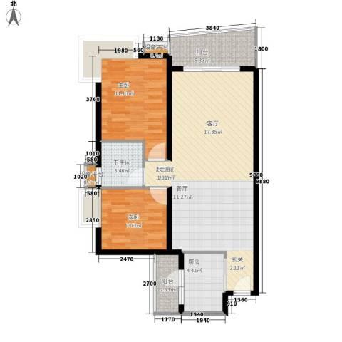 高山流水2室0厅1卫1厨76.00㎡户型图