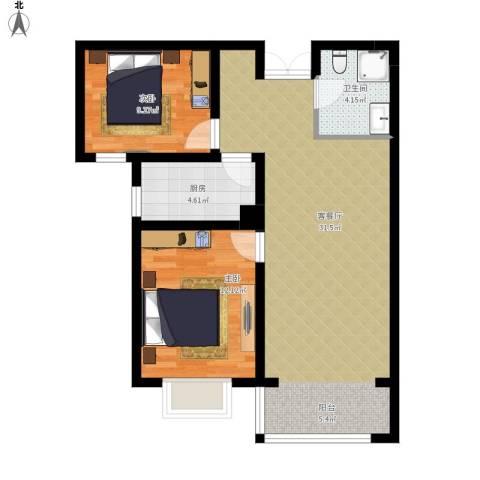 香榭家园2室1厅1卫1厨89.00㎡户型图