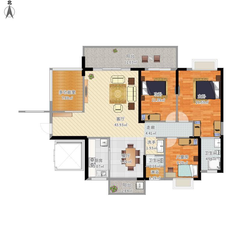 实用户型124平方B户型三室二厅
