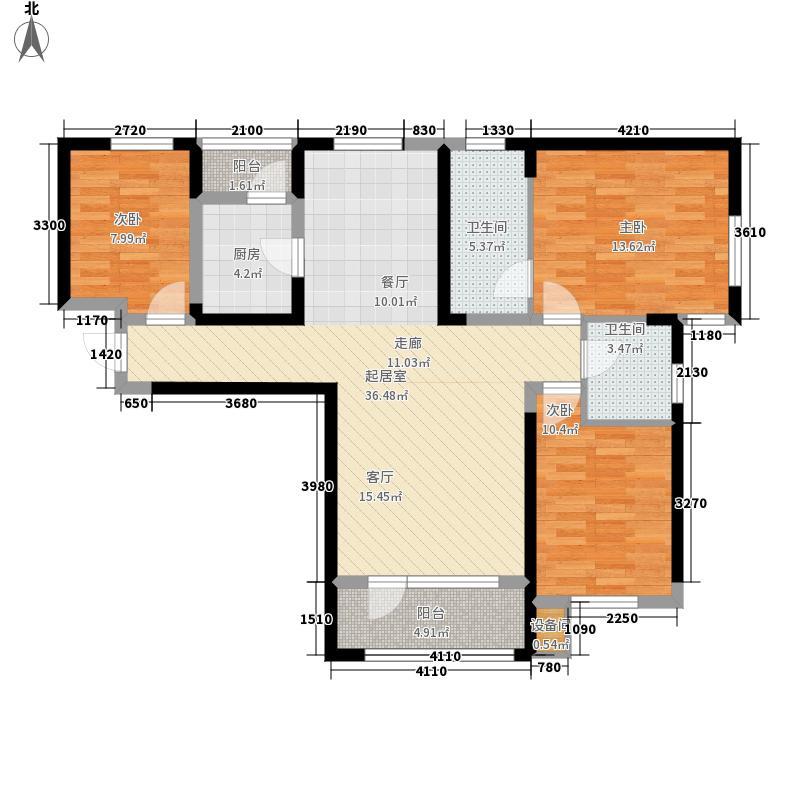 中铁诺德名苑124.00㎡小高层13号楼标准层F户型