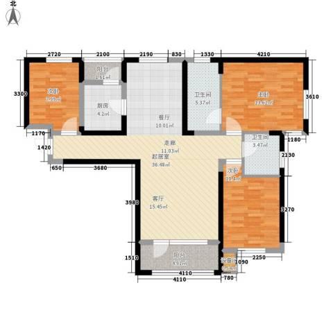 中铁诺德名苑3室0厅2卫1厨124.00㎡户型图