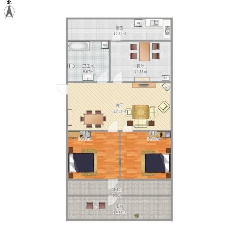 营市东街单位宿舍2室2厅1卫1厨157.00㎡户型图