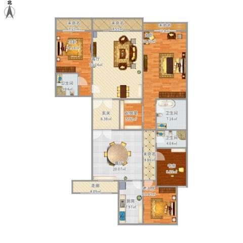 西岸小区4室2厅3卫1厨218.00㎡户型图