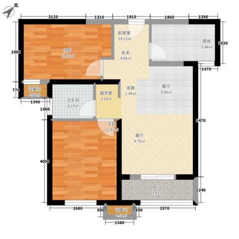 宜禾红橡公园2室0厅1卫1厨82.00㎡户型图