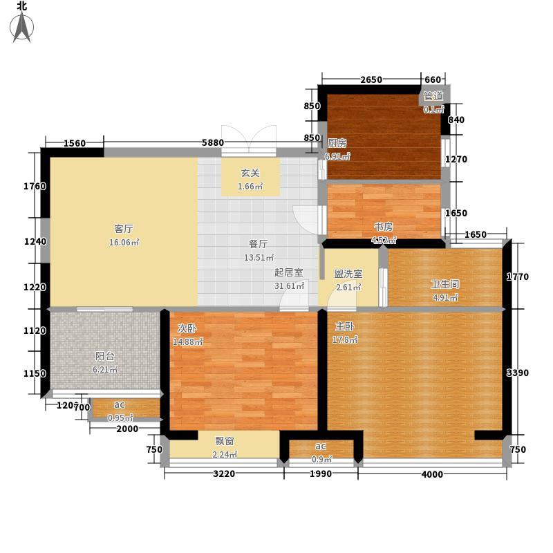 中南世纪锦城89.00㎡一期10号楼中间户B1户型