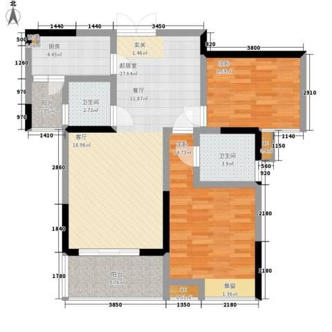 春风城市心筑2室0厅2卫1厨78.00㎡户型图