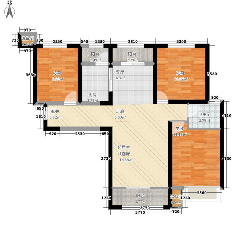 中铁诺德名苑118.00㎡高层标准层B户型