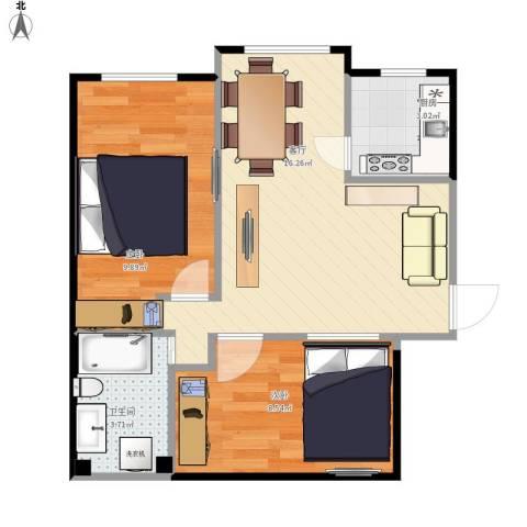 安德馨居2室1厅1卫1厨57.00㎡户型图