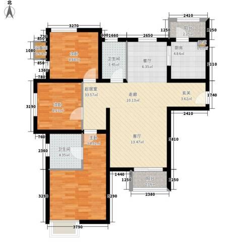 双威悦馨苑3室0厅2卫1厨133.00㎡户型图