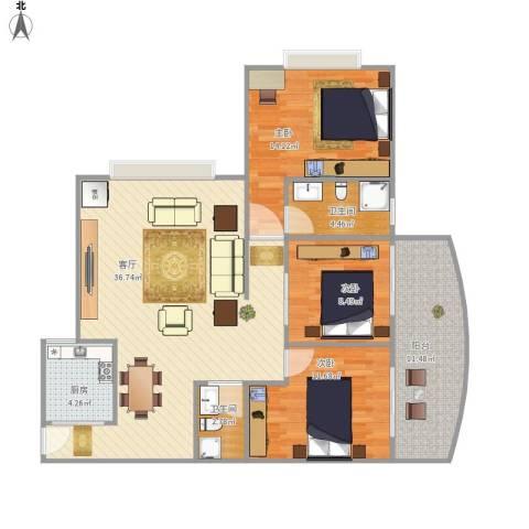 假日香港广场3室1厅2卫1厨111.00㎡户型图