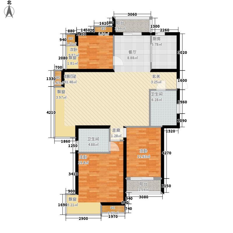 沈铁达观133.81㎡户型3室2厅