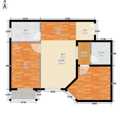 丽都壹号2室0厅1卫1厨83.00㎡户型图