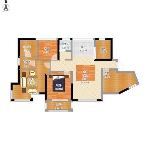 维一星城・原山苑4室1厅2卫1厨128.00㎡户型图