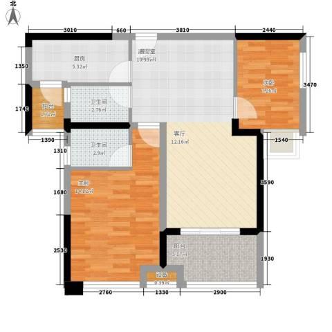 商学院和园2室0厅2卫1厨73.00㎡户型图