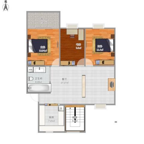 临江小区3室1厅1卫1厨114.00㎡户型图