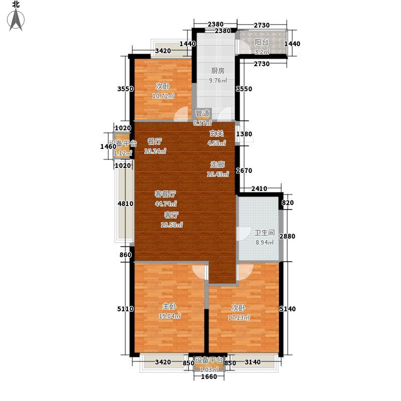 华润置地广场127.91㎡H楼E户型3室2厅