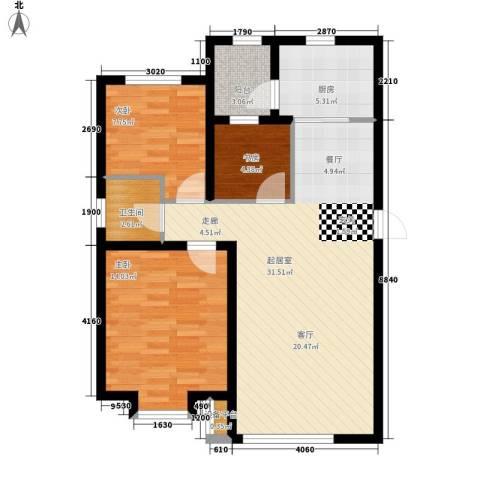 兴盛景悦蓝湾3室0厅1卫1厨99.00㎡户型图
