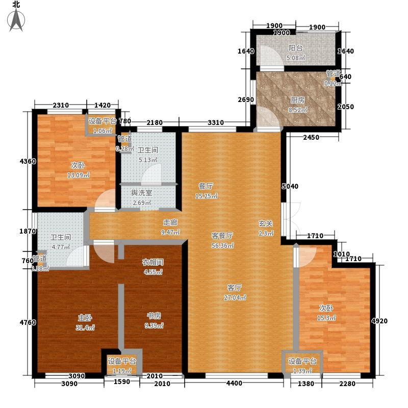绿地城央名邸163.46㎡户型4室2厅