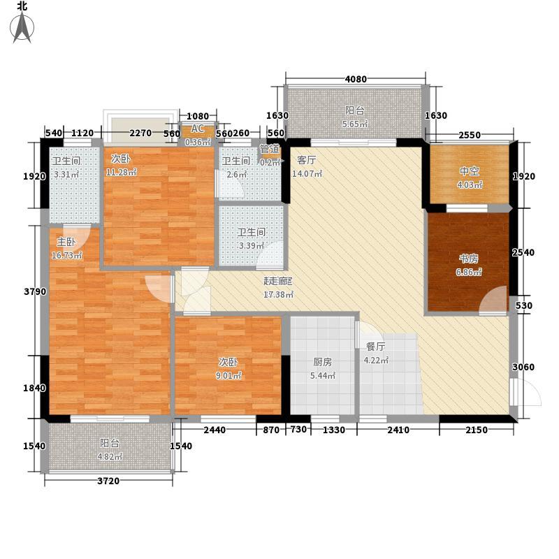 赣州中央城123.74㎡一期3#楼A1户型