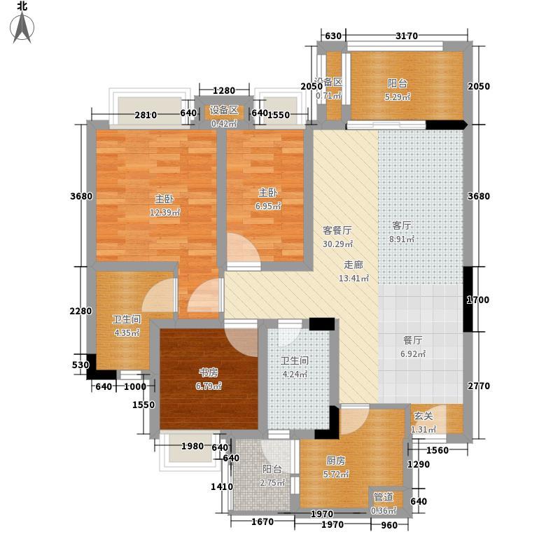 蓉晶公馆89.16㎡一期4栋、8栋标准层A2户型