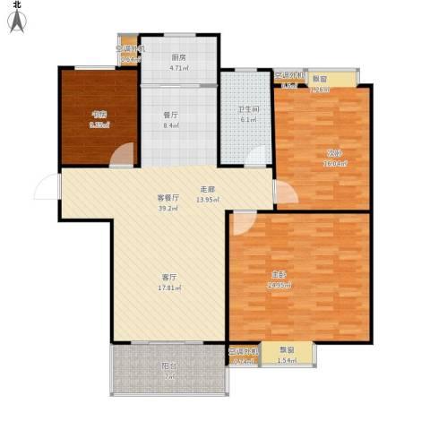 群星苑3室1厅1卫1厨116.85㎡户型图