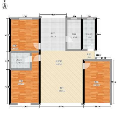 油脂公司宿舍3室0厅2卫1厨128.00㎡户型图