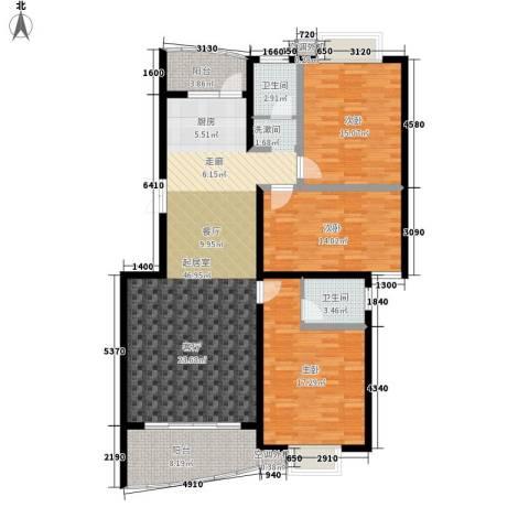 麓谷E家人3室0厅2卫0厨127.28㎡户型图