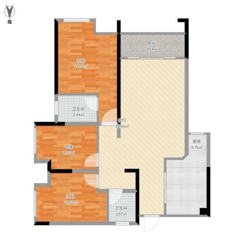 首创鸿恩国际生活区三期3室1厅2卫1厨118.00㎡户型图