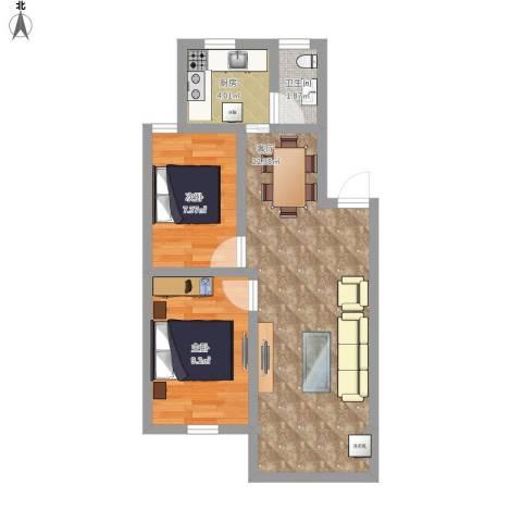 三里家园一区2室1厅1卫1厨66.00㎡户型图