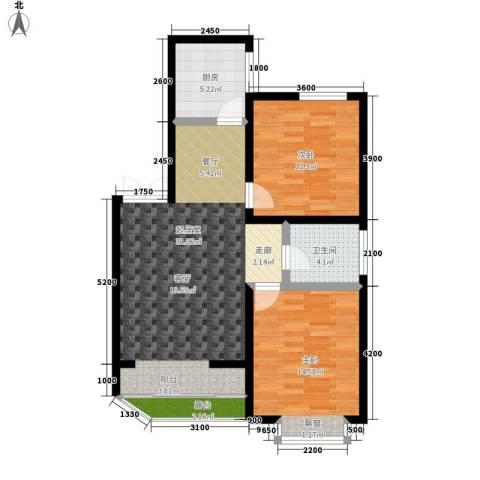 湘许嘉园2室0厅1卫1厨91.00㎡户型图