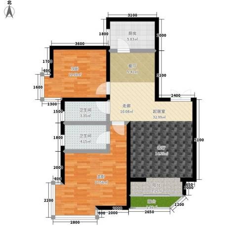 湘许嘉园2室0厅2卫1厨101.00㎡户型图