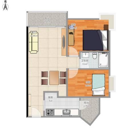 光大花园榕上居2室1厅1卫1厨73.00㎡户型图