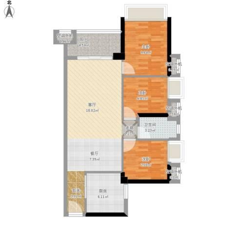 万科金悦华庭3室1厅1卫1厨99.00㎡户型图