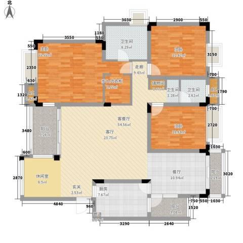 中海国际社区蓝岸3室1厅2卫1厨147.00㎡户型图