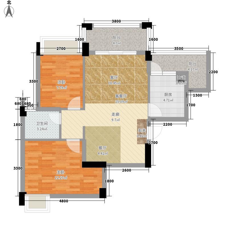 南宁奥园79.51㎡悉尼组团3号楼D户型2室2厅