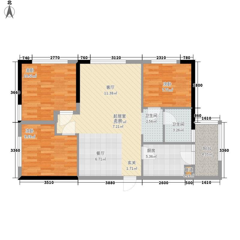 兰亭小时代80.00㎡B型户型3室2厅