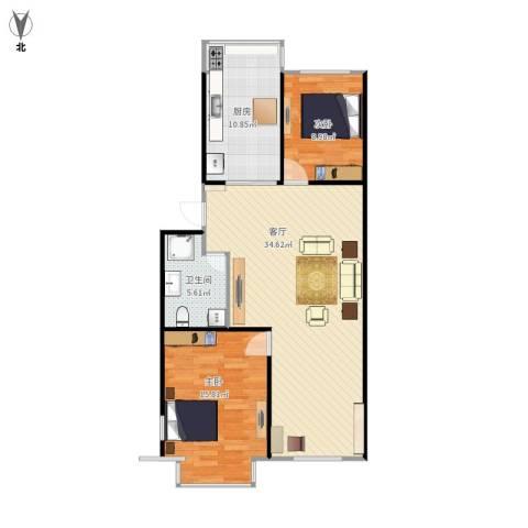 绿洲春城2室1厅1卫1厨101.00㎡户型图