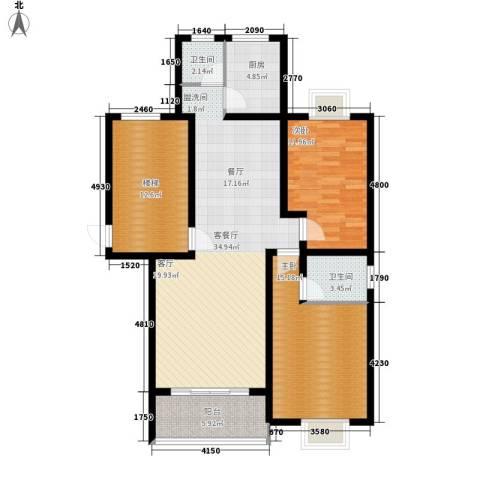 雄海花园2室1厅2卫1厨91.04㎡户型图