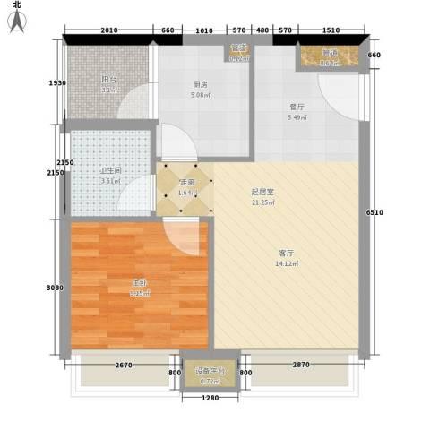 都市兰亭1室0厅1卫1厨50.00㎡户型图