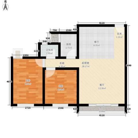 印象天心2室0厅1卫1厨60.00㎡户型图