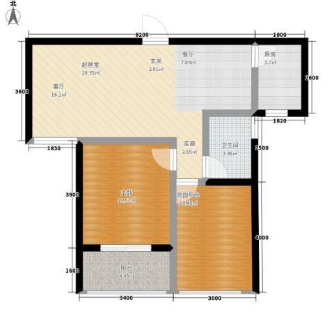 祥安东城国际花园1室0厅1卫1厨87.00㎡户型图