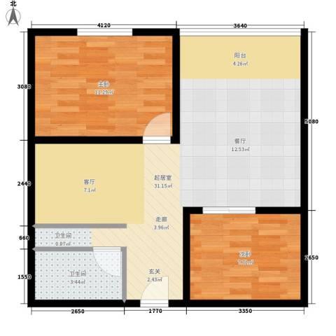 印象天心2室0厅1卫0厨60.00㎡户型图