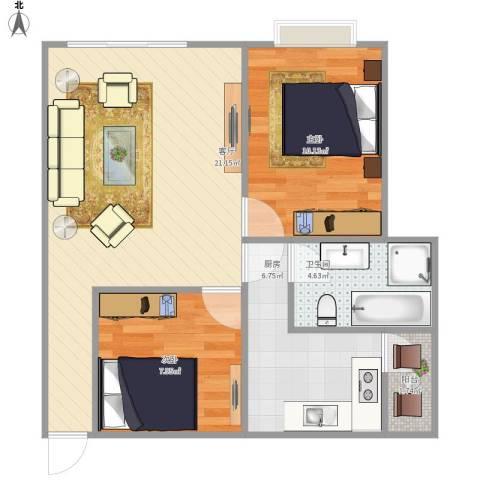 滨港国际2室1厅1卫1厨71.00㎡户型图