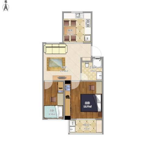童王小区2室1厅1卫1厨68.00㎡户型图
