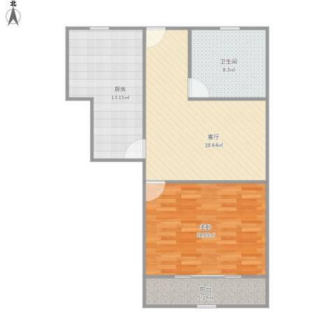 宝林六村1室1厅1卫1厨88.00㎡户型图