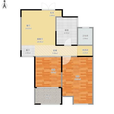 绿地新都会2室1厅1卫1厨88.00㎡户型图